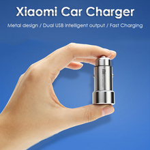 Original for Xiaomi Car Charger Dual USB Fast Charging Quick Charge Car Chargers for iPhone7 7 Plus Phones Tablet PC Metal 5V 2