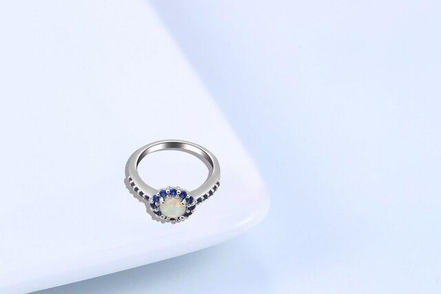 Mini Zircon bleu design vente chaude blanc opale de feu argent plaqué estampillé cristal bijoux anneaux USA #6 #7 #7.5 #8 #8.5 #9 OR712