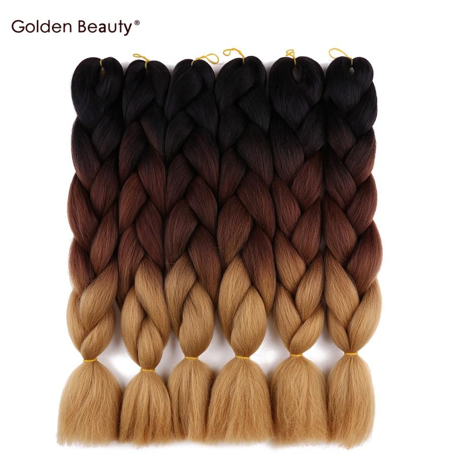 24 дюйма вязанная косами Ombre Джамбо оплетки волос Синтетические волосы для кос крючком волос золотой Красота ...