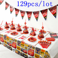 High Quality Disney Cars Cup Plate Napkin Kid Birthday Horns Banner Lightning McQueen Tableware Set Decoration Supply 129Pcs/lot