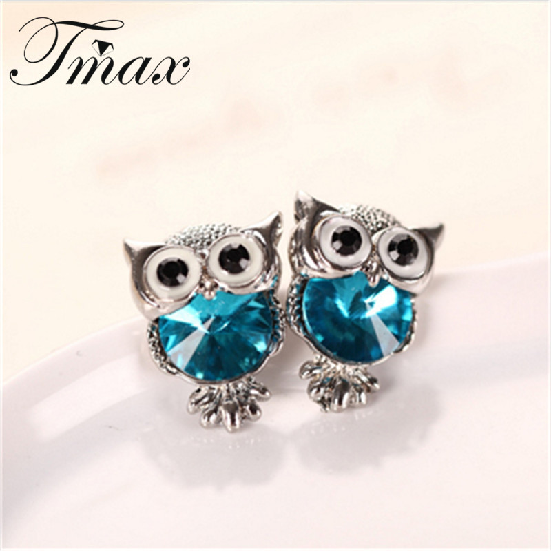 New Design Crystal Women Charms Owl Studs
