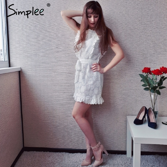 Women dress Hollow out sashes ruffle white summer dress