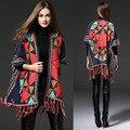 Outono inverno das Mulheres Do Vintage geometria Poncho Xale senhoras casaco de lã solta longo cardigan de Malha Xale Capa Cachecol de Caxemira 65306