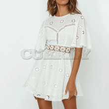 CUERLY 2019 summer day dress sexy white cotton crochet hollow out women flare sleeve O-neck Splice embroidery mini dresses