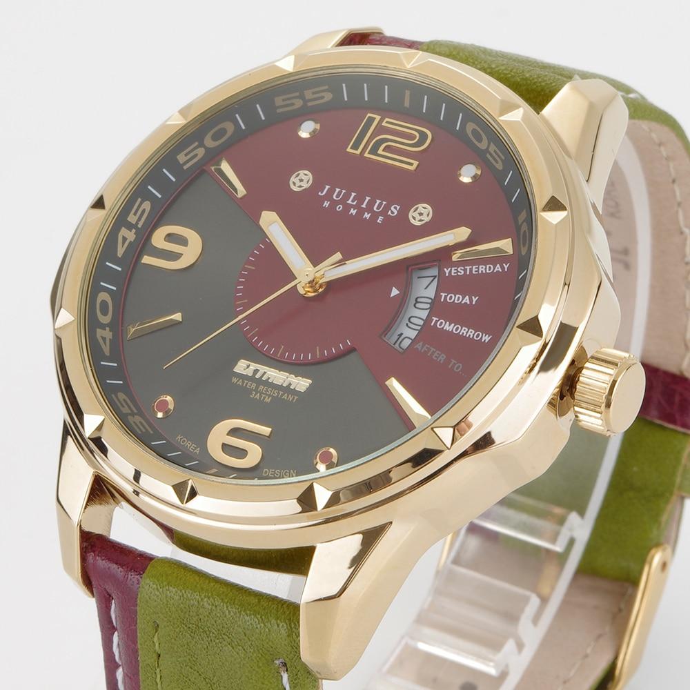 2016 New Julius Brand Fashion Men Sports Watches Men's Quartz Genuine Leather Strap Military Army Waterproof Wrist Watch