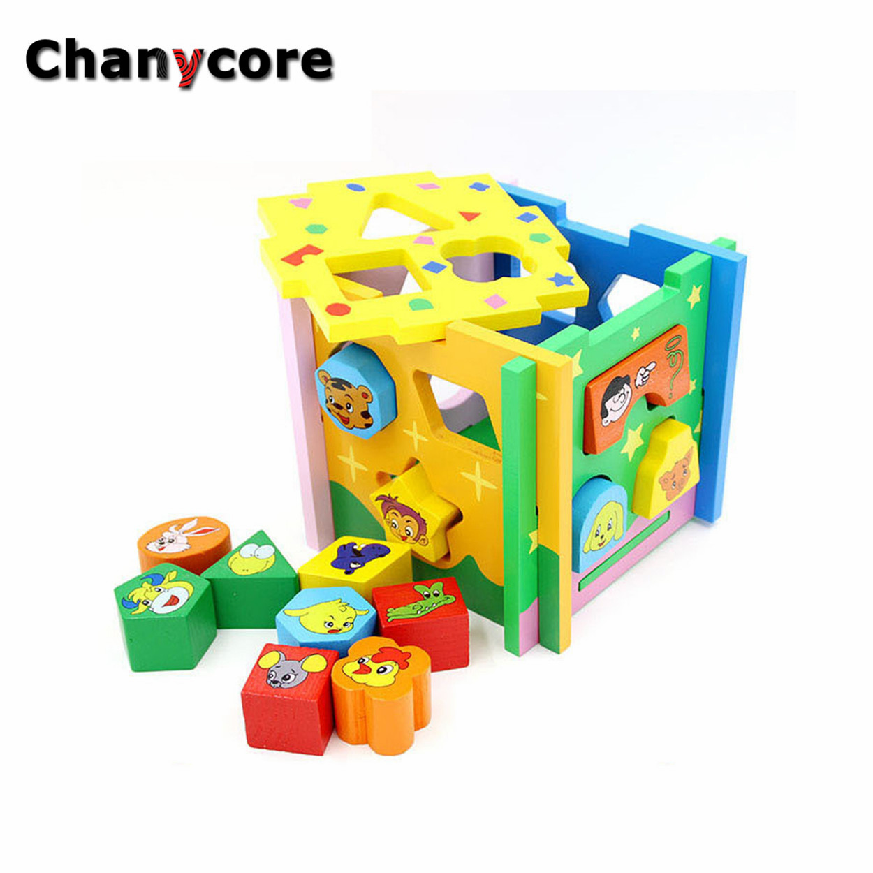 Baby Block Toy Box : Baby learning educational wooden toys geometric shape