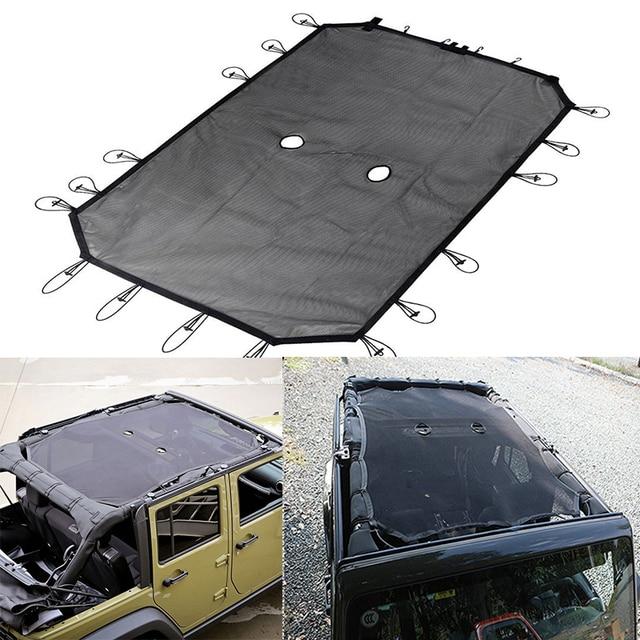 Portable Black Sun Shade Full Mesh Top Cover 4 Door Model For Jeep Wrangler Easy