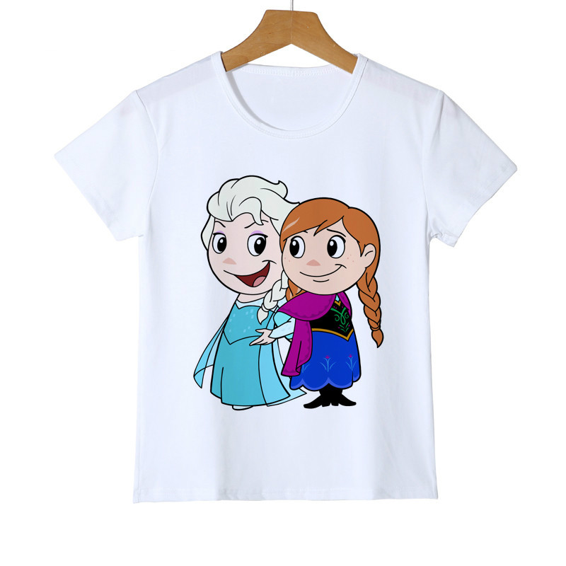 2019 Summer Cute Girls T-shirts Elsa Anna Princess Kids T Shirts Baby Girl Boy T-Shirt Children Tops Brand Holiday Gift Z42-3
