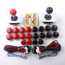 Arcade Game DIY Parts 2x Zero Delay USB Encoder + 2x 8 Way Joystick + 20x Push Buttons for Mame & Fighting Games Black-Red