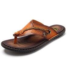 Moda Hombre Zapatillas de cuero Cómodo DE LA PU, 39-44 Hombres Chanclas, Zapatos Talón Plano Ocasional Del Verano Sandalias de Playa para Hombres