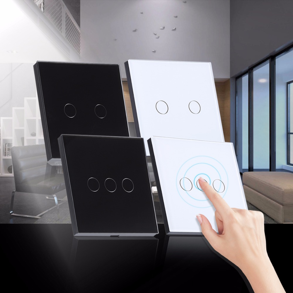 Smart Home Glass Touch Switch 1 Way 2/3 Gang 110~240V Wall Panel Light Touch, Sensor Black White