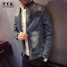 Высокое качество, винтажная Потертая джинсовая куртка, Мужская мода, приталенная, стоячий воротник, на молнии, Мужское пальто, осенняя мужская джинсовая куртка, уличная одежда