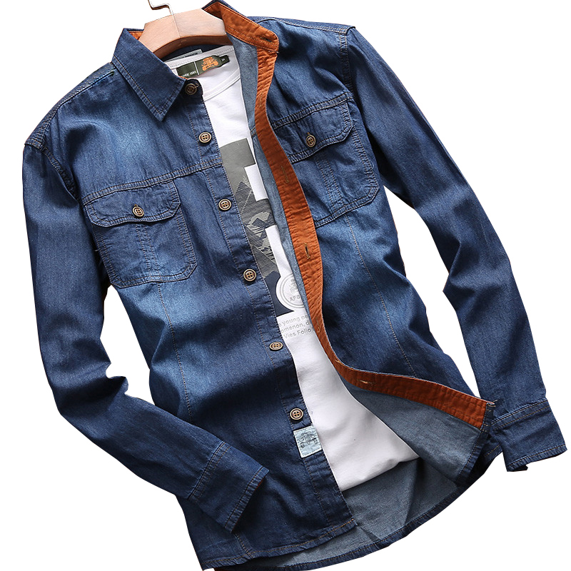 2018 new arrival spring mens casual denim long sleeve shirt 100% cotton sweat-busting mens shirt for free shipping