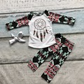2016 Fall/ Winter baby girls dreamcatch cotton full long sleeve clothing outfits boutiques aztec pants clothing matching bow