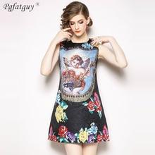 d5987f1a6e High Quality Fashion Sleeveless Dress 2019 European Style Runway Designer  Dress Women s Luxurious Colorful Printing Mini
