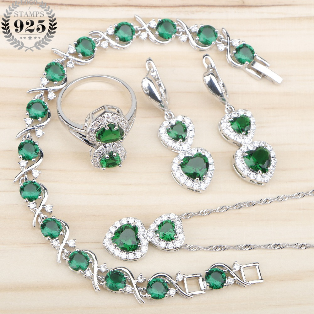 Green Zircon Wedding 925 Silver Jewelry Sets Women Pendant&Necklace Bracelets Earrings Rings With Stones Set Jewelery Gift Box