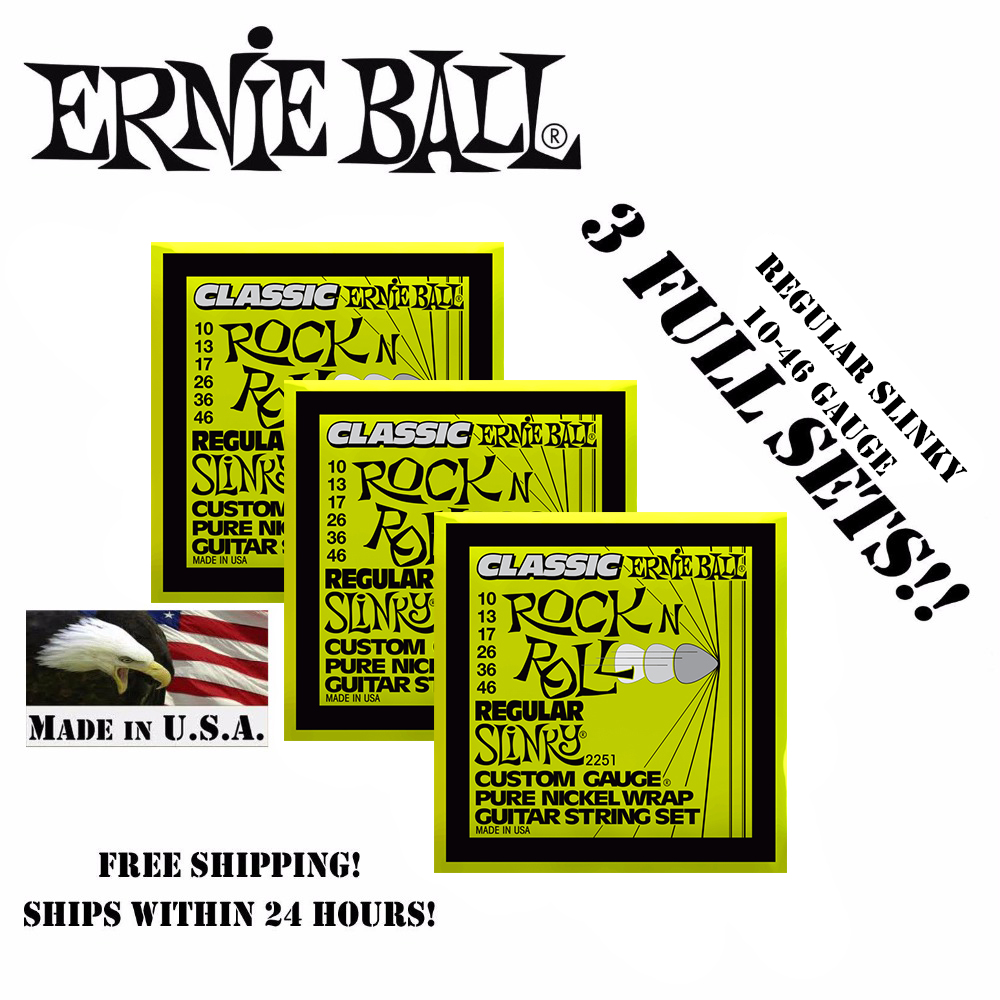 3 Packs! Original Ernie Ball 2251 Classic Rock N Roll Regular Slinky Electric Guitar Strings