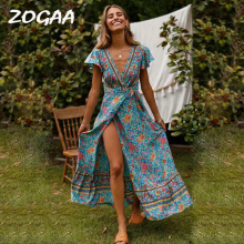ZOGAA Women Summer Boho Beach Dress Ladies V Neck Floral Print Elegant Sundress Evening Party Bohemian Long Split Vestidos