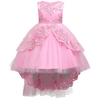 Girls Clothes Pearl Embroidery High Grade Wedding Dress Children Christmas Clothing Kids Party Dress Baby Girls