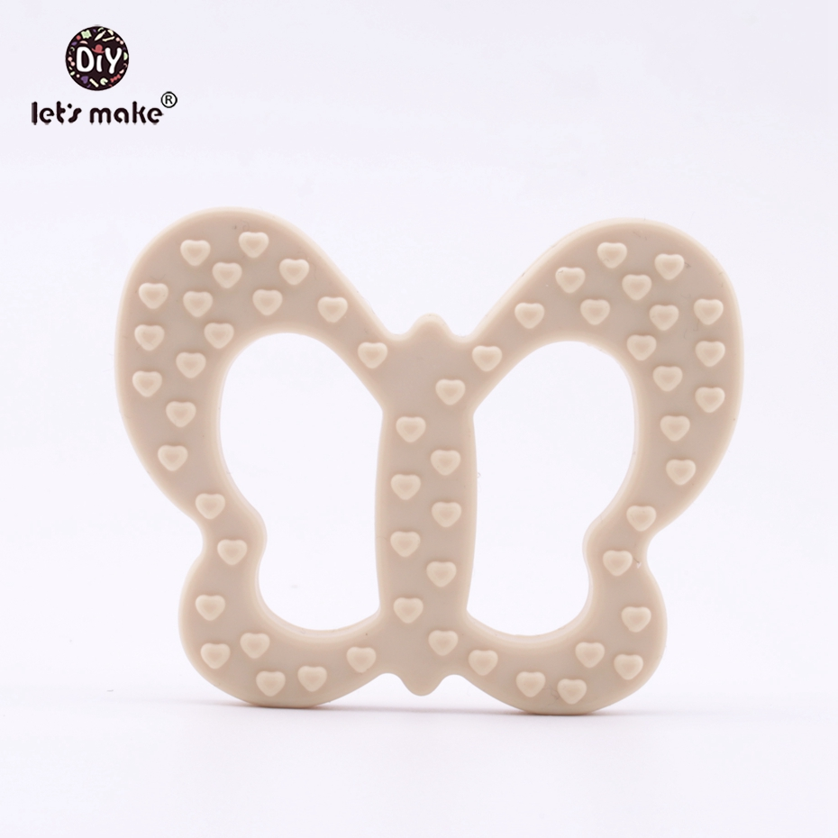 Let's Make Food Grade Silicone Butterfly Teether DIY Accessories Dummy Clip Rattles Pendant Nursing Necklace Charms Baby Teether