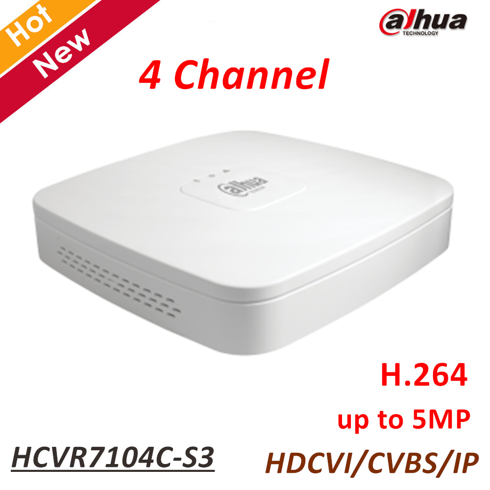 New Dahua 4ch HCVR Support HDCVI CVBS IP video inputs H.264 each channel up to 5MP Smart Search 4 Channel HCVR7104C-S3 dahua hcvr 4 8 16ch tribrid hdcvi