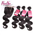 Malaysian Virgin Hair With Closure Body Wave Human Hair Bundles With Closure 4*4 3 Bundles With Lace Closure Body Wave