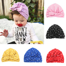 1PC Wrap accessories hair head  bowknot turban Bandanas kids Dots Printed Indian Hat rabbit ears cutegirls baby