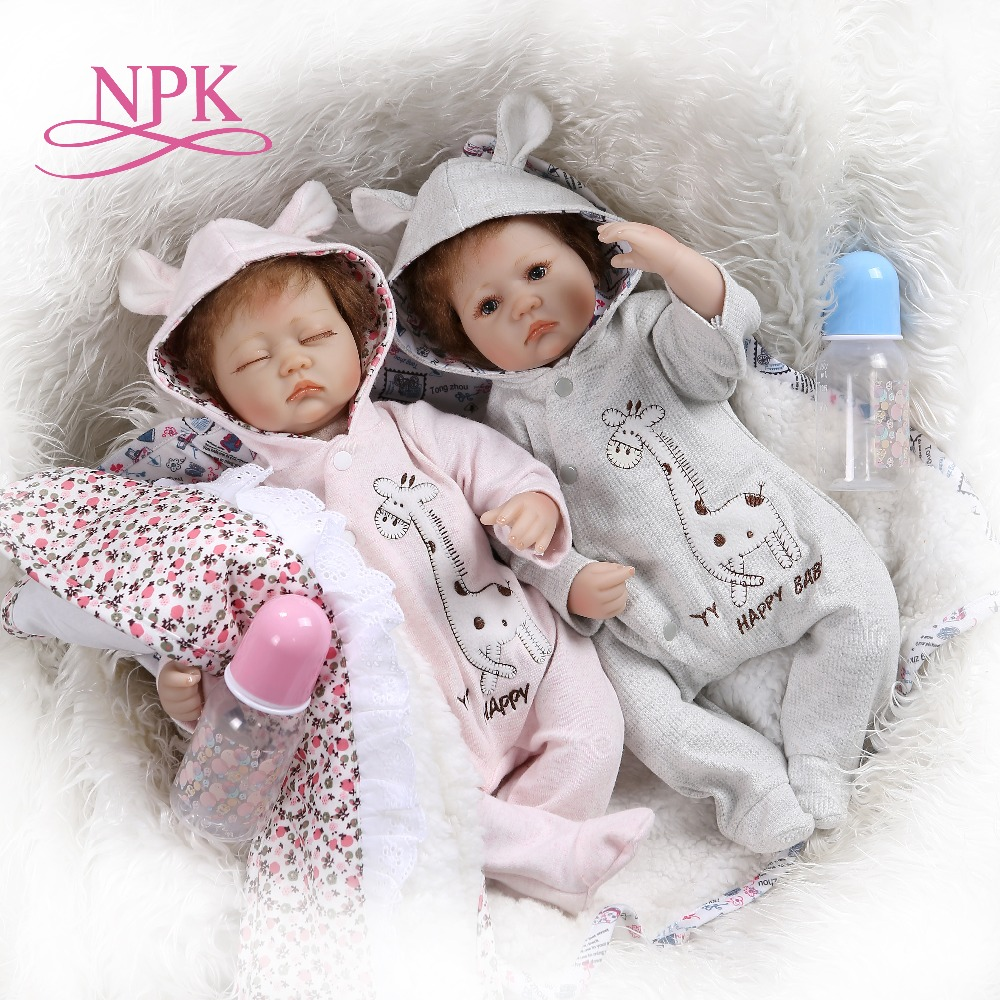 NPK 40CM very soft silicone reborn premie baby twins in pink and blue dress Birthday Gift collectible toyNPK 40CM very soft silicone reborn premie baby twins in pink and blue dress Birthday Gift collectible toy