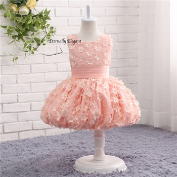 Cute 2017 Pink O Neck Ball Gown Sleeveless Flower Girl Dresses For Weddings Pageant Dresses With Flowers TZ005