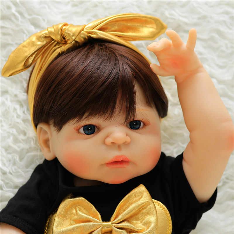 2018 Nova 57CM Corpo Cheio de Silicone Boneca Reborn Menina Viva Real Toque Boneca Bebe Reborn Boneca Brinquedo de Criança brinquedo Do Banho Do Bebê Playmate