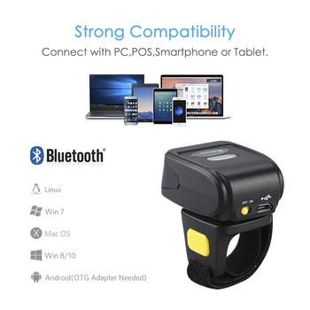 EYOYO R30 2D Barcode Scanner Wireless Bluetooth Barcode Reader For PDF 417 DM QR Code For IOS Android Windows EYOYO