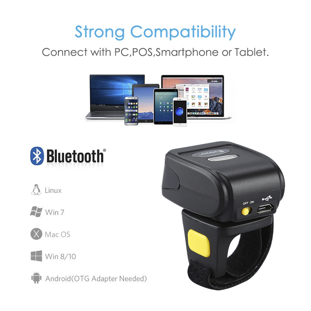 US $75 71 24% OFF|EYOYO R30 2D Barcode Scanner Wireless Bluetooth Barcode  Reader For PDF 417 DM QR Code For IOS Android Windows-in Scanners from