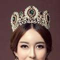 Western Hair Accessories European Designs Turquoise Women Pageant Prom Bridal Crown Green Tall Crystal Wedding Tiara