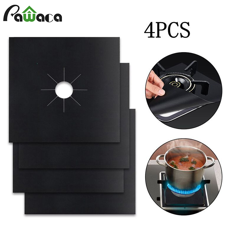 4x Kitchen Gas Stove Top Burner Reusable Protector Liner Cleaning Pad Cover