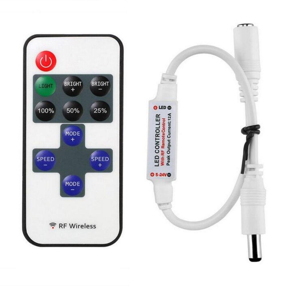1 Pc מיני RF Wireless Led מרחוק בקר Led דימר בקר עבור צבע אחד אור רצועת SMD5050/3528/ 5730/5630/3014