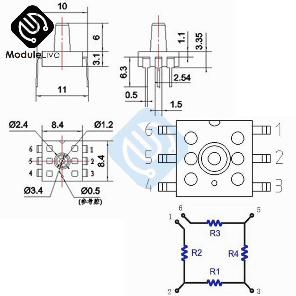 MPS20N0040D-D Sphygmomanometer DIP Sensor Tekanan Udara Modul 0-40kPa DIP-6 untuk Arduino Papan 6 P 6 Pin 6PIN DIY kit