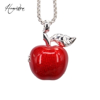 Thomas Locket Openable Red Apple Pendant Necklace 925 Silver European Bijoux Jewelry Gift For Women And