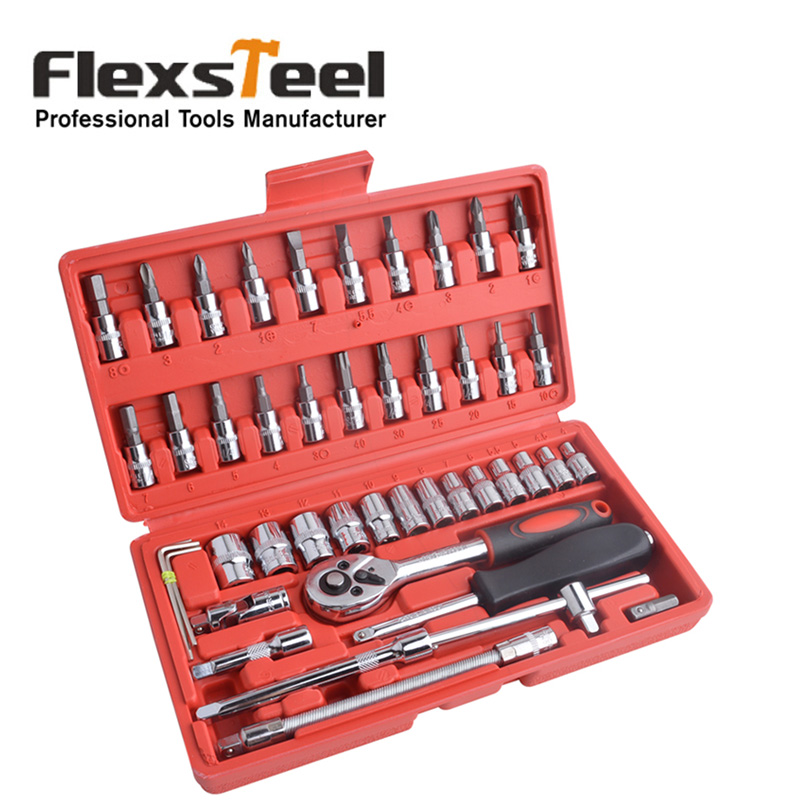 46pcs socket set with 1 4 drive ratchet wrench multifunctional combination household tool kit - Household tools ...