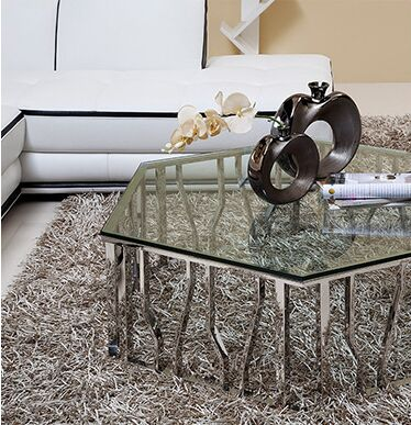 Accent Tables With Brushed Stainless Steel Laser Cut Geometric Design