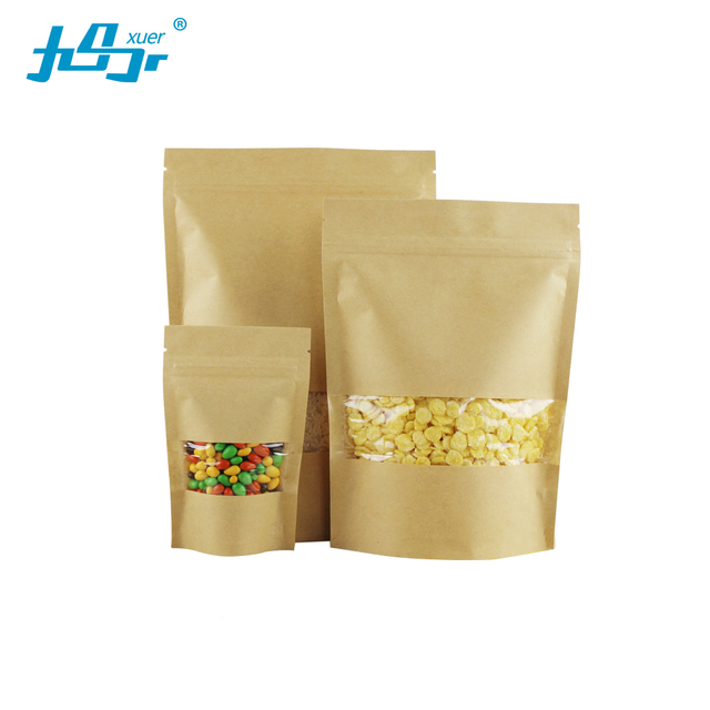 9x14 3cm 100pcs Brown Stand Up Kraft Paper Zip Lock Bags With Clear Window