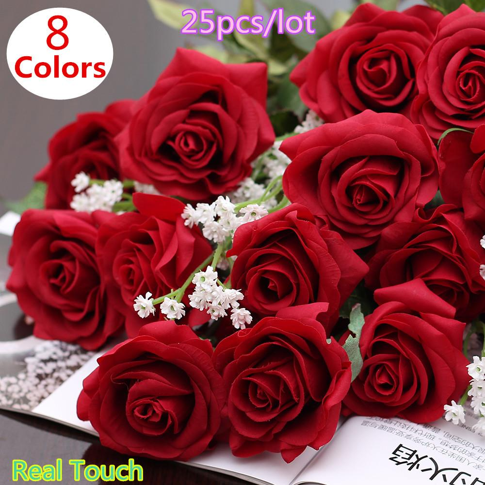 Aliexpress Buy 25pcslot Real Touch Rose Pu Artificial Silk