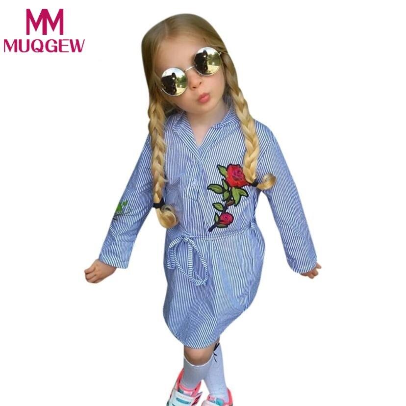 Модная детская одежда для девочек цветок розы Вышивка Аппликации в полоску платье принцессы пояс платья детская одежда Нарядная одежда для...