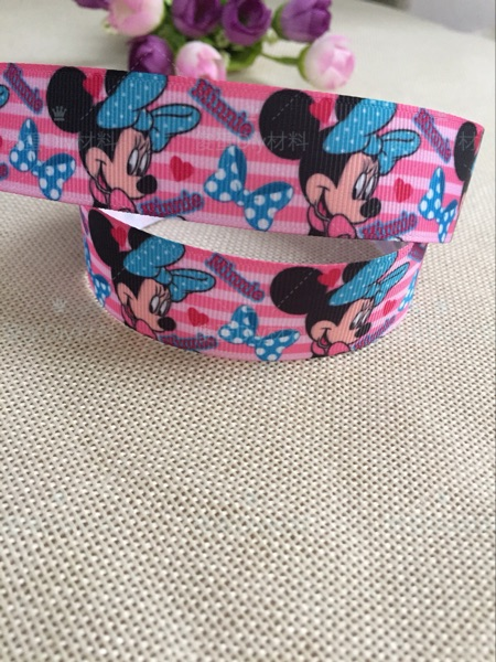 1 25mm New cartoon Bow tie printed grosgrain ribbon hairbow diy party decoration wholesale birthday gift paking gift wrap