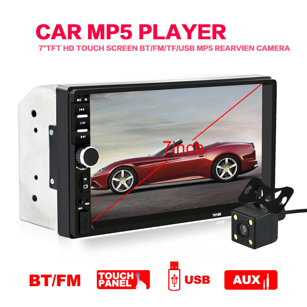 7 2Din In Dash Car LCD Touch Screen Radio Auto MP5 Player Bluetooth Handsfree Stereo MP3 w/ Rear View Camera IR Remote Control 7 inch touch screen 2 din car multimedia radio bluetooth mp4 mp5 video usb sd mp3 auto player autoradio with rear view camera