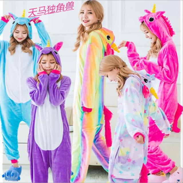 4b86dd8082 Pink Unicorn Pajamas Sets Flannel Animal Pajamas Winter Nightie Stitch  Unicornio Sleepwear For Women Men Adults