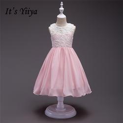 Это yiiya Новый Лоскутная Кружевные Платья с цветочным узором для девочек с круглым вырезом Принцесса бальное без рукавов платье из шифона
