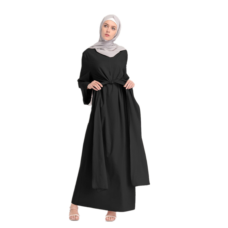 Women's Muslim Dubai Loose Sashes Abayas Arab Women Fashion Dress Arabic Turkish Kaftan Female Clothing