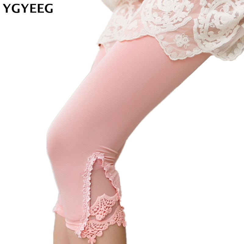 YGYEEG Triangle Lace Leggings Hollow Out Design Women Summer Casual Mid-Calf Pants & Capris 100% Cotton Modal Stretch Legging