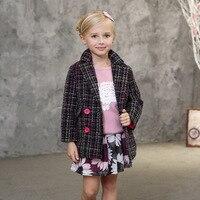 Thickening Girls Jacket Plaid Winter Warm Children Outerwear Ukraine Kids Trench Coat For Windbreaker Woolen Jackets Foreign
