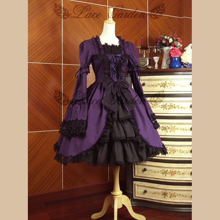 Purple Gothic Lolita Dress Square Neck Flare Long Sleeve Dress with Bow and Ruffles